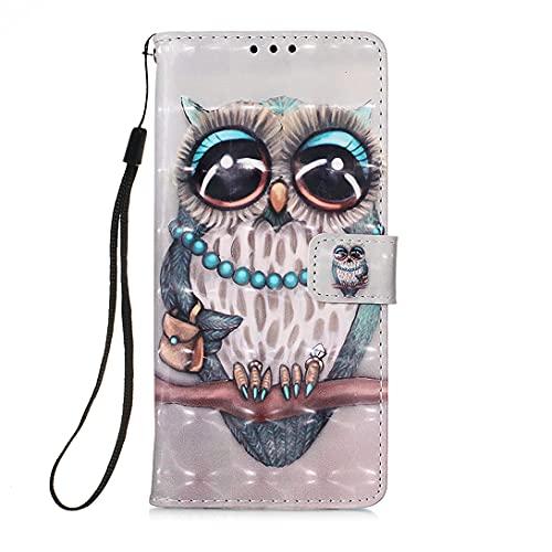 Pheant Compatible con Samsung Galaxy Xcover 5 Funda Libro - Cuero Premium Folio Carcasa con Soporte Plegable,Ranuras para Tarjetas,Absorción de Choque - Funda con Tapa Dibujo 3D Búho