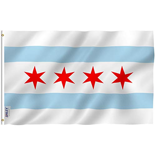 Anley Fly Breeze 3x5 Foot City of Chicago Flag - Vivid Color and Fade Proof - Canvas Header and Double Stitched - Chicago IL Flags Polyester with Brass Grommets 3 X 5 Ft
