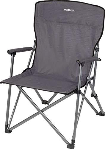 BERGER Faltstuhl Comfort, grau, Stahlgestell, belastbar bis 100 kg, Campingstuhl, Klappstuhl