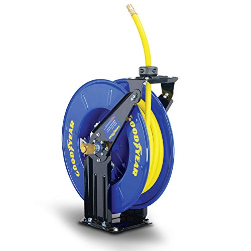 """GOODYEAR Air/Water Hose Reel Retractable Spring Driven 3/8"""" Inch x 50' Feet Long Premium Commercial SBR Hose Max 300 Psi Reinforced Steel Construction Heavy Duty Industrial Dual Arm & Pedestal"""