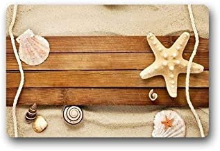 ZMvise Rubber Fashions Unique Sand Shells Starfish Beach Doormat Doormat Floor Mat Bath Indoor Outdoor Mat 18 x 30 inch