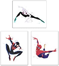 Watercolor Spiderman Into The Spiderverse Poster Prints - Set of 3 (8x10) Comic Movie Multiverse Marvel Wall Art Decor - Miles Morales - Peter Parker - Gwen Stacy Spider-Gwen