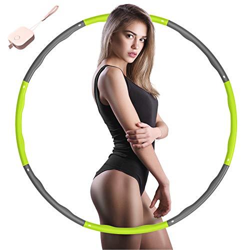 SOCLL Hula Hoop Reifen Erwachsene, 6-8 Abnehmbare Abschnitte Geeignet für Erwachsene & Kinder, Hula Hoop Reifen für Fitness zur Gewichtsabnahme/Bauchformung/Zuhause/Büro, 1~1,2 KG