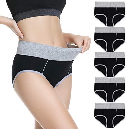 TUUHAW Unterhosen Damen Unterwäsche Baumwolle 5er Pack Hohe Taille Miederhose Atmungsaktive Schwarz-5XL