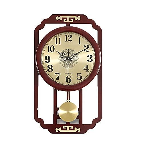 Reloj de pared retro marrón Reloj de péndulo,retro con reloj de calendario,batería de cuarzo silenciosa sin tictio,operado para leer Inicio /Oficina/Reloj escolar,2 Comedor dormitorio oficina aula esc