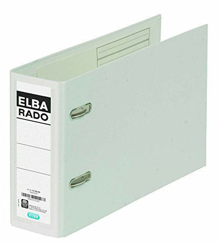 ELBA Kunststoff-Ordner rado plast A5 quer 7,5 cm breit weiß mit Einsteckrückenschild Ringordner Aktenordner Briefordner Büroordner Plastikordner Schlitzordner