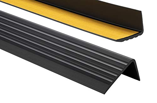 ProfiPVC Perfil de PVC autoadhesivo de borde para escaleras 41mm x 25mm en Forma de L, Tiras antideslizantes para peldaños, Esquina para cantos - Cantonera Protector, 200cm, Negro