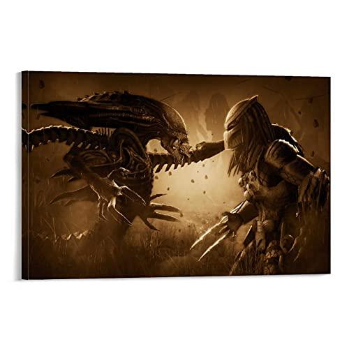 BCYD Póster decorativo de Alien Vs Depredador, lienzo para pared, sala de estar, dormitorio, 20 x 30 cm