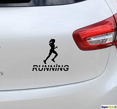 SUPERSTICKI Running Laufen Läuferin Joggerin Joggen 20cm Aufkleber Sticker Decal aus Hochleistungsfolie Autoaufkleber Tuningaufkleber für alle glatten Flächen UV und Waschanlagenfest Tuning Prof
