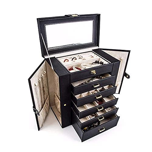erddcbb Caja organizadora de joyero Multicapa de Cuero PU con Organizador de 5 cajones y 2 Puertas Abiertas separadas en 2 Lados y Espejo Grande