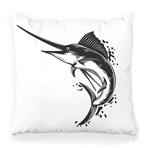Funda de Cojine Funda de almohada decorativa Pez Blanco Negro Aislado Marlin Silueta Vintage Aventura Animal Bait Catch Dibujado Pesca Throw Cojín 45X45CM