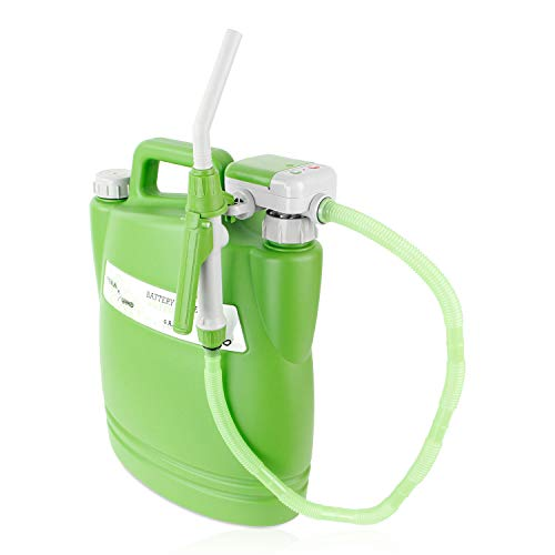 TERA PUMP No More Back Lifting Heavy Watering can/Battery (4 AA) Powered Watering Can w/Hose, Nozzle and Flexible Intake Hose
