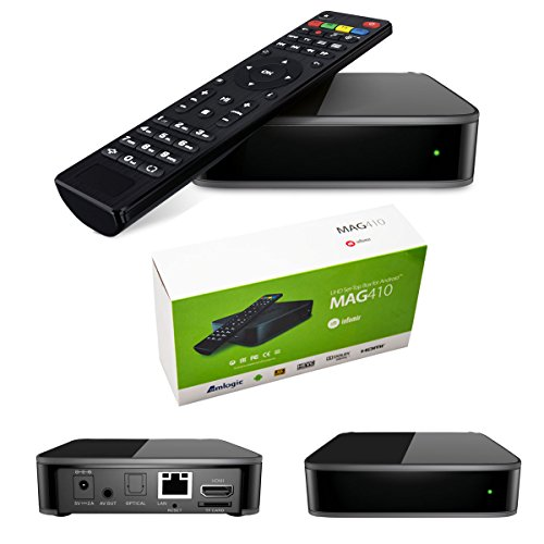 MAG 410 Android - Decodificador multimedia IPTV H.265, con Internet, TV 4K Ultra HD, 3D (idioma español no garantizado)