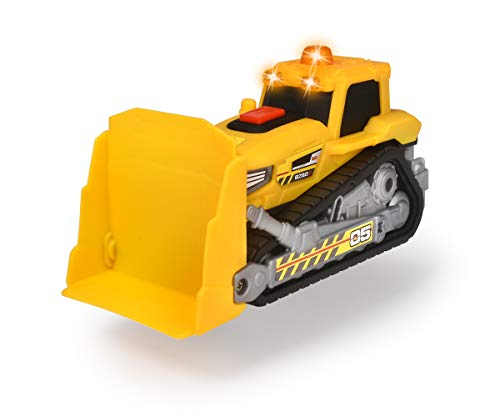 Dickie Toys 203302026 Bulldozer, Planierraupe, Baustellenfahrzeug, Schaufel manuell beweglich, Spielzeugauto, Baustellenauto, Sandkasten Spielzeug, Licht & Sound, inkl. Batterien, 16 cm, gelb