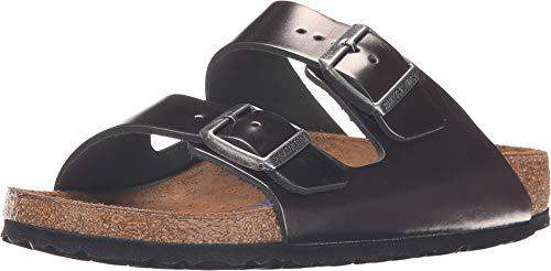 Birkenstock Unisex Arizona Metallic Anthracite Leather Sandals - 6-6.5 B(M) US Women