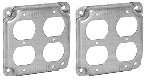 Hubbell-Raco 907C 2 Duplex Receptacles 4-Inch Square Exposed Work Cover (Тwo Рack)
