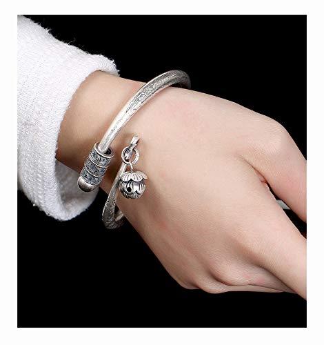 FAYFMA Pulsera de plata de ley con diseño de loto y personalidad de moda retro con apertura ajustable, pulsera de regalo de plata