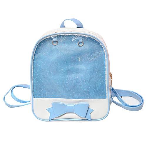 Ita Bag Backpack Girls Cute Candy Leather Bag Purse School Bag Summer Beach Bag Purse with Bowknot Transparent Windows for DIY Decors Blue