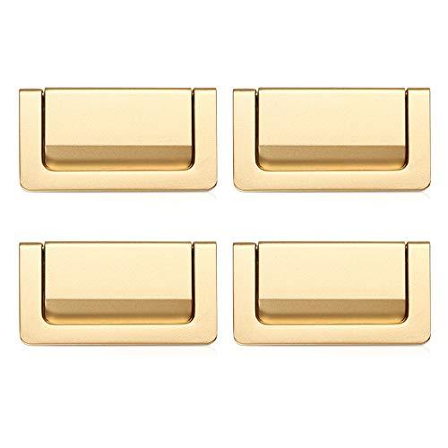 XGzhsa Tiradores para cajones, tiradores ocultos para muebles, 4 tiradores modernos de aleación de zinc para armarios, armarios, puertas y cajones (oro, centro del orificio: 64 mm)