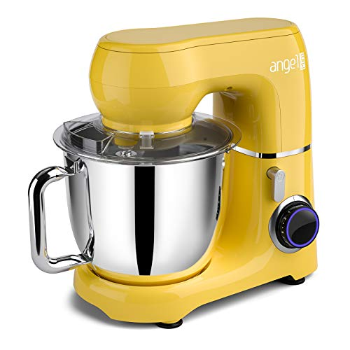 Mini angel Stand Mixer,10-Speed 5.5QT Kitchen Electric Mixer with DIY Color Stickers,Tilt-Head Food Mixer with Dough Hook, Wire Whisk, Flat Beater, Stainless Steel Bowl - Yellow