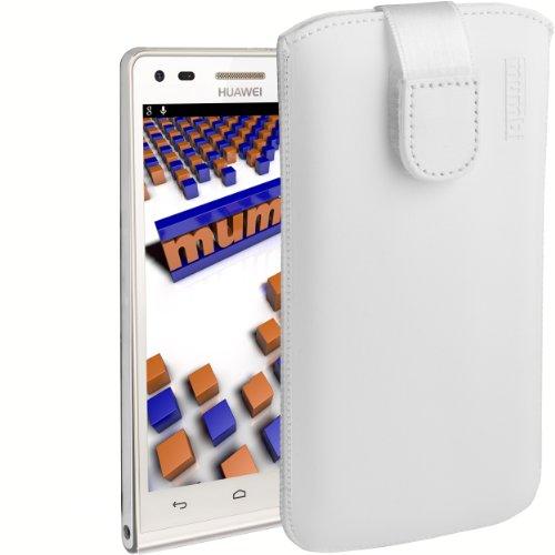 mumbi Echt-Leder Tasche kompatibel mit Huawei Ascend P7 Mini, (Lasche mit Rückzugfunktion, Ausziehhilfe), weiß