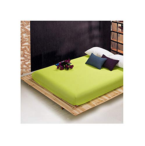 Lou Chapman Solid Color Sheets Spannbettuch Elastic Matratzenbezug Bettwäsche Bedspread Polyester-Baumwolle Einzelzimmer Zweibettzimmer Voll Königin, Grün, 160X200X25cm