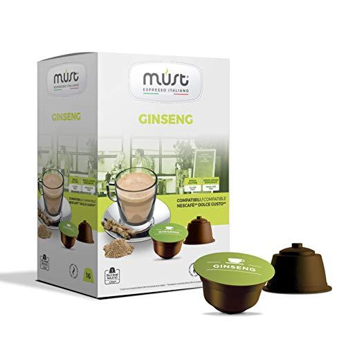 MUST 96 Capsule Caffè di Ginseng Autoprotette in Plastica 100% Riciclabile miscela PANAX GINSENG, 16 Capsule in 6 confezioni compatibili con macchina / macchinetta Dolce Gusto Cialde Made in Italy