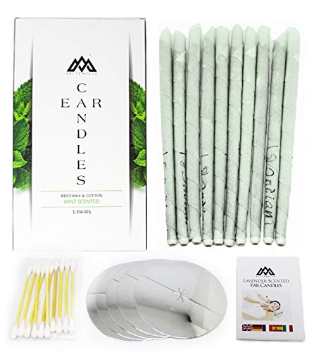 Natural Hopi Ear Candles - Wide Benefit (Tinnitus, TMJ, Inflammation) - Scented Ear Candles, 5 Pairs with Safety Disks and Cotton Buds Excess Ear Wax Remover (Mint)
