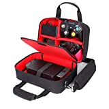 USA Gear Étui De Transport pour Console Électronique avec Rangement Accessoires pour Contrôleurs, Câbles, Casques Et Bandoulière - Compatible avec Les Consoles Nintendo, Switch, Et Wii U - Rouge