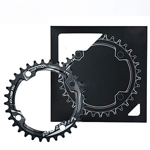 Plato ancho estrecho mtb, plato delantero profesional Platos de bicicleta aleación aluminio de una sola velocidad para recorridos de larga distancia para equilibrar la fuerza física,96bcd,32T