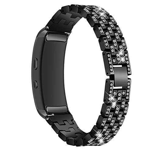 MVRYCE Gear Fit2 Pro Smart Armband, Edelstahl Uhrenarmband Bling Strass Ersatz Schmuck Armband Verstellbare Metallglieder Armbänder Kompatibel mit Samsung Gear Fit 2 /Gear Fit 2 Pro (A02)
