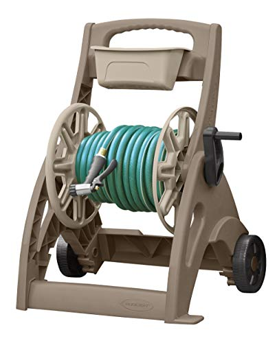 Suncast Hosemobile Garden Hose Reel Cart - Lightweight Portable Garden Cart with Wheels, Crank Handle, and Storage Tray for Gardening Accessories - 225' Hose Capacity - Mocha