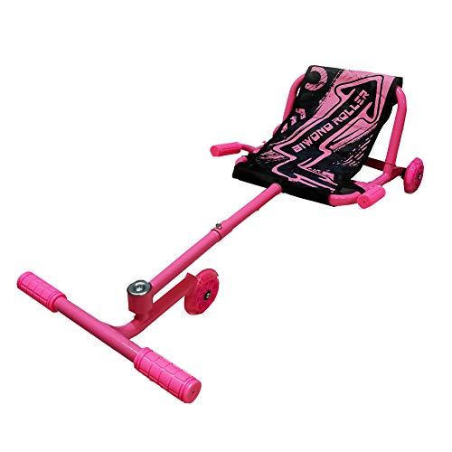 BIWOND Roller Dance (Patinete Infantil sin baterías con 3 Ruedas, Luces LED, Movimientos Zig – Zag, para Niños y Niñas, Material Antideslizante) - Rosa