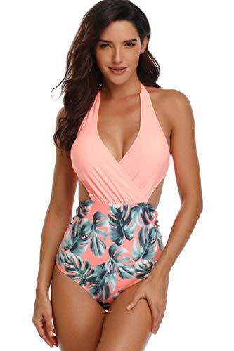 heekpek Mujer Halter Traje de Baño de Una Pieza V-Cuello Top Bikini Push Up Monokinis Sexy Swimwear Tankinis Talla Grande Ropa de Baño Bikinis