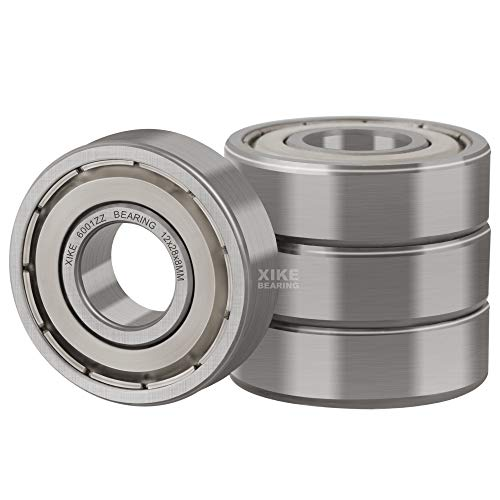 XiKe 4 Pcs 6001ZZ Double Metal Seal Bearings 12x28x8mm, Pre-Lubricated and Stable Performance and Cost Effective, Deep Groove Ball Bearings.
