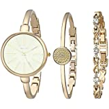 Women's Wrist Watches with Rose Gold Band 3 Sets Match Any Outfits (White - Gold)