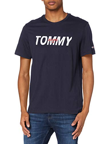 Tommy Hilfiger TJM Layered Graphic tee Camisa, Azul Marino Crepúsculo, XL para Hombre