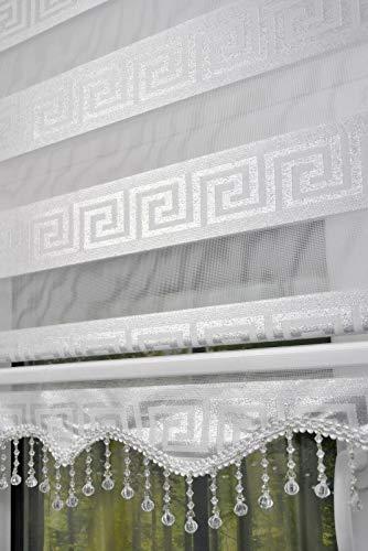 plisseeonline Doppelrollo Duorollo mit Perlen Versage Muster Alu-Kassette Fenster Tür Gardinen weiß Silber Glitzer (Weiß, 160 x 200 cm)