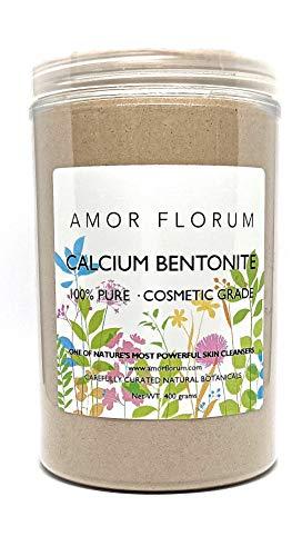 CALCIUM BENTONIT TON - KOSMETIK QUALITÄT - 400 g - von AMOR FLORUM - Gesichtsreiniger, Mitesserentferner & Porenminimierer 100% natürliche Gesichtslehmmaske, Superfein, hohe Reinheit, PH6