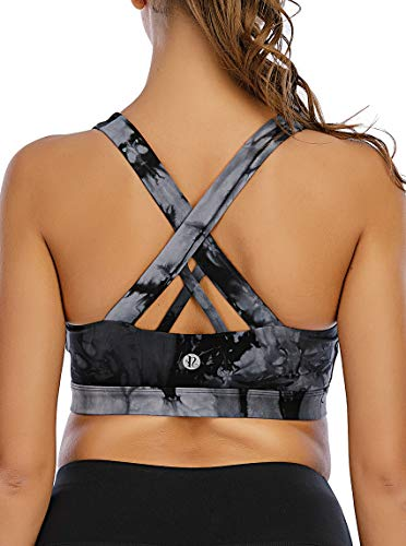 RUNNING GIRL Sports Bra for Women, Criss-Cross Back Padded Strappy Sports Bras Medium Support Yoga Bra with Removable Cups (WX2353.Gray Smoke, XL)