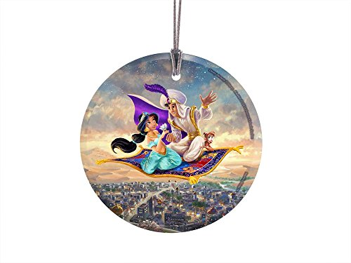 """Trend Setters Disney – Aladdin – Princess Jasmine – Flying Carpet Ride - Thomas Kinkade – 3.5"""" Starfire Prints Hanging Glass Accessory - Ideal for Gifting and Collecting Ltd."""