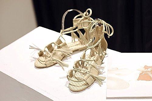 Aa-nvliangxie Sandales Sandales grande taille d'été 2018 Nouveau Rome à franges Chaussures pour femmes,EU35CN36,le riz blanc  abordable