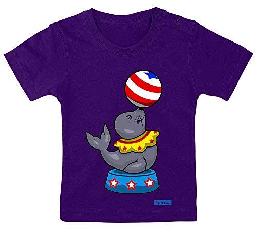Hariz - Camiseta para bebé, diseño de león marino, circo, animales, guardería, incluye tarjeta de regalo, polvo de estrellas, color lila 3-9 meses/60-69 cm