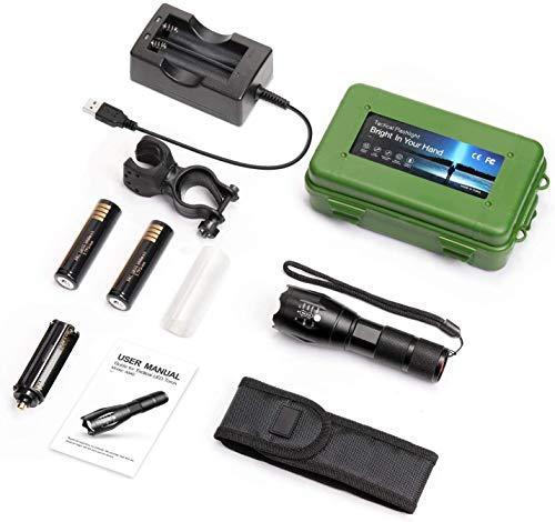 Sweetone Linterna, Linterna LED Alta Potencia, 1200 Lúmenes CREE L2 Antorcha de Mano, 5 Modos Zoomable Impermeable Táctica con 18650 Batería Recargable,cargador USB, Funda de Linterna