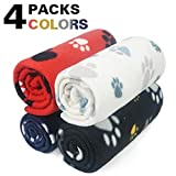 Petsloveit 4 Pack Puppy Kitten Blanket with Paw Print,Small Size Polar Fleece Blankets for Small Dogs and Cats,32 Inches X 24 Inches