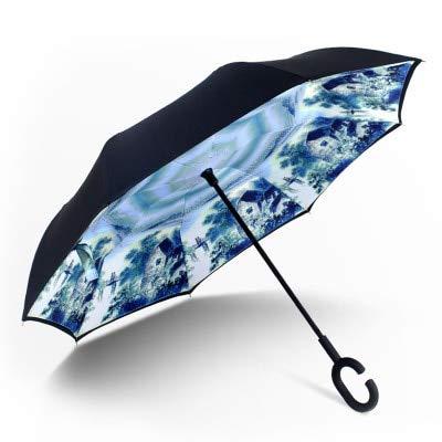 MAWA Coche con Gancho en Forma de C autoportante a Prueba de Lluvia con Paraguas Chuwa invertido de Doble Capa a Prueba de Viento para Mujer - 4