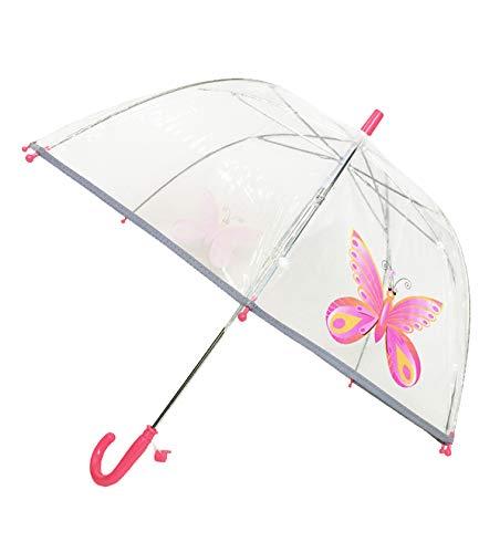 SMATI Kinderregenschirme - transparenter Stockschirm Glockenform - Der erste Fluoreszierende Regenschirm für die Sicherheit Ihres Kindes (Rosa Schmetterling)