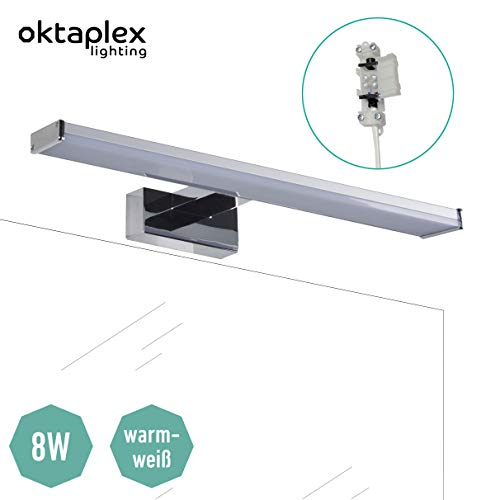 LED Spiegelleuchte Bad BALI W 40cm 8W | Badwandleuchte Spiegellampe Wand 640lm 3000K warmweiß Oktaplex lighting