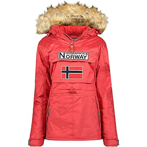 Geographical Norway BRIDGET LADY - Parka Impermeable Mujeres - Abrigo Grueso Capucha Exteriores - Chaqueta Cortavientos Invierno Cálida - Chaqueta Exteriores Para Mujeres ROJO L