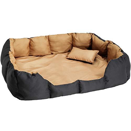 TecTake 800047 XXL Hundebett Hundekissen inkl. Decke und Kissen, dick gepolsterte Seitenwände - Diverse Farben - (Braun/Schwarz | Nr. 400746)